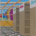 Bibliothèque, huile sur bois, 80 X 60 cm, 2015