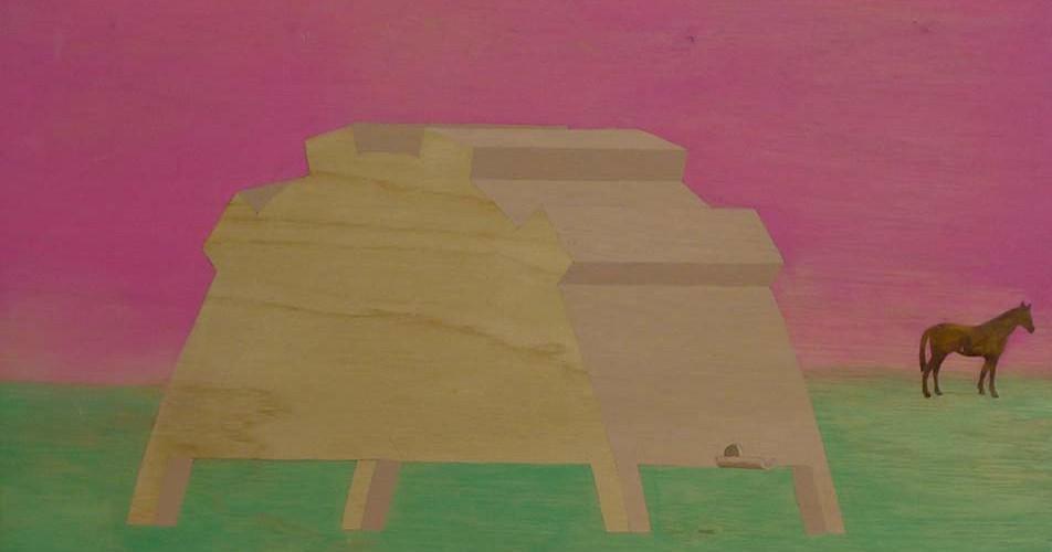 F3D N°15 vinylique sur bois, collage 61x49 2011