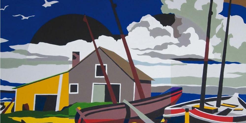 Imago, Bord de mer, Acrylique sur papier marouflé sur bois 1,49x1,16m