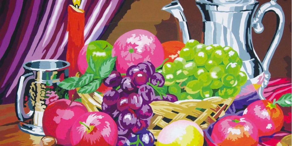 Imago, Carafe et corbeille à fruits, Acrylique sur papier marouflé sur bois 1,60x1,20m