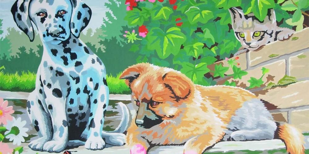 Imago, chiens et chat, look who'swatching, Acrylique sur papier marouflé sur bois 1,60x1,20m