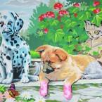 Imago, chiens et chat, 1,60 x 1,20 m