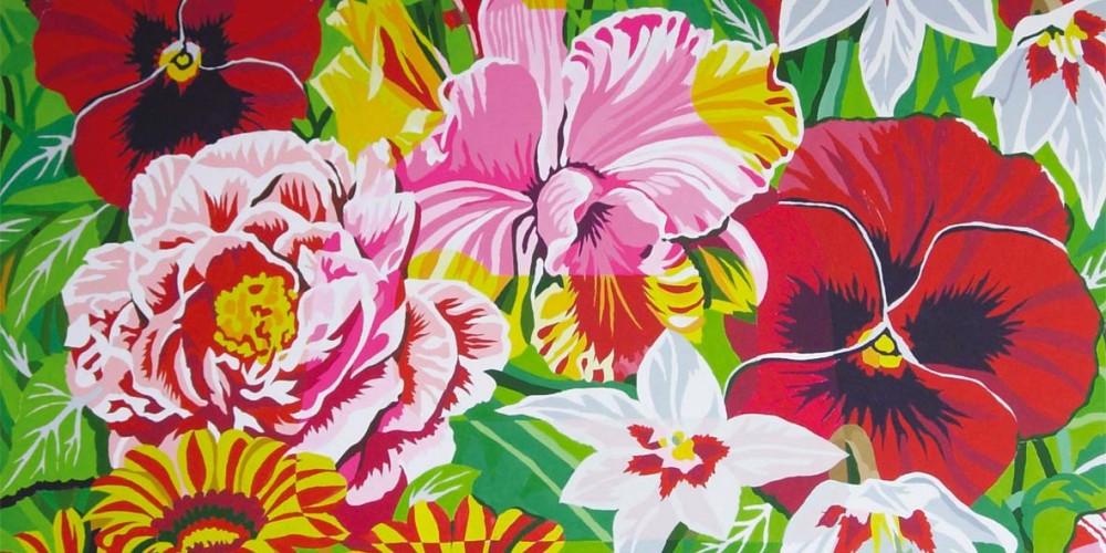 Imago, fleurs, Acrylique sur papier marouflé sur bois 1,49x1,16m