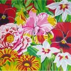 Imago, fleurs, 1,60 x 1,20 m