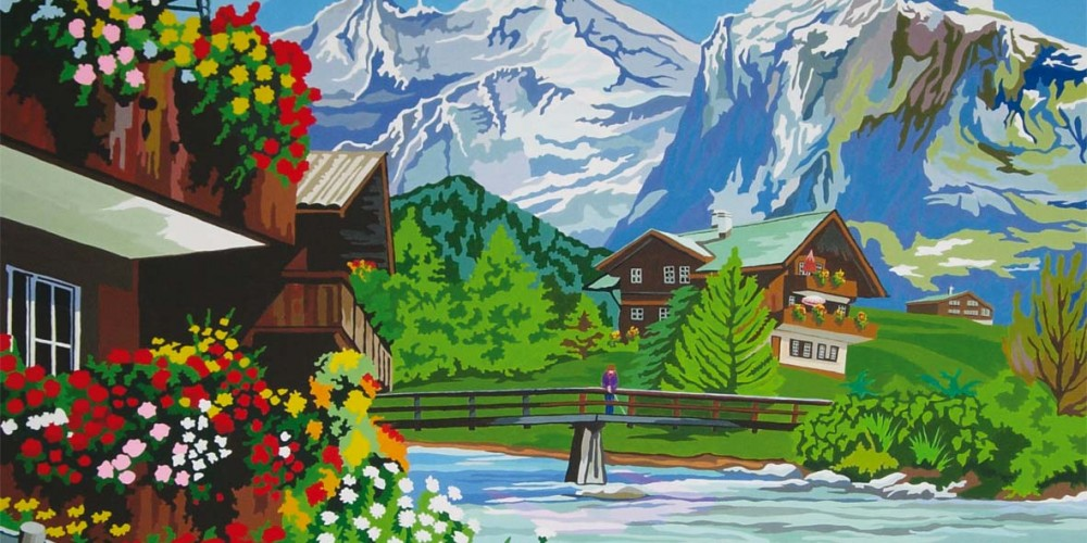 Imago, montagnes, chalets et rivière à truites, Acrylique sur papier marouflé sur bois 1,60x1,20m