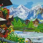 Imago, montagnes, chalets et rivière à truites, 1,60 x 1,20 m