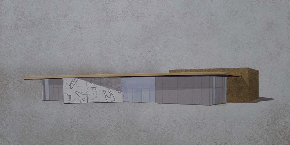 Maquette médiathèque de Nexon peinture collage sur aggloméré 80x60cm 2011