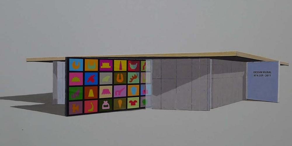 Maquette médiathèque de Nexon peinture collage sur mélaminé 80x60cm 2011