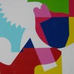 Phasme N°2, 2003. Acrylique sur papier marouflé sur bois, 153x130x5 cm