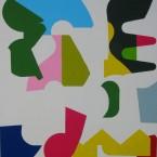 Phasme N°3, 2003. Acrylique sur papier marouflé sur bois, 153x130x5 cm