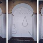 Dessin mural N° 4 (1) côté gauche, pierre noire sur mur, chapelle St pierre des Carmes à Tulle,2003
