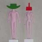 Portes tête A et E résine, bois peinture 2003