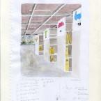 La bibliothèque aquarelle 21x29,7cm
