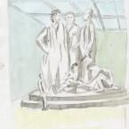 Mantegna dans le hall, aquarelle 21x29,7cm