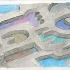Marais salant aquarelle sur papier 20,6x29,4cm