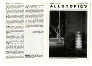 Allotopies, impression sur papier recyclé, 21x29,7cm, 2002, Page 1- 7