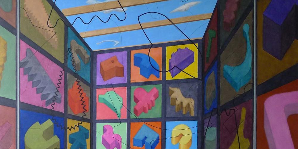 Tableau d'exposition, Entre ciel et terre, huile sur toile, 250x200cm