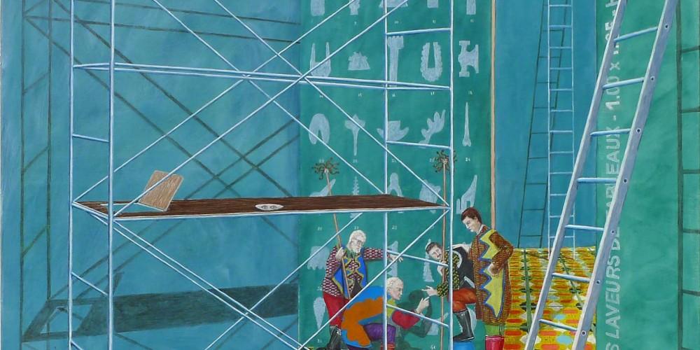 Tableau machine, les laveurs de tableaux, 1.00 x 1.25 m huile sur toile, 2015